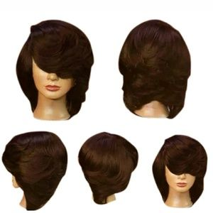 Brown feathered synthetic wig
